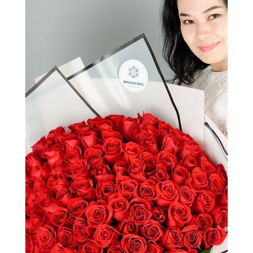 Купить на заказ Букет из 101 красной розы с доставкой в Степняке