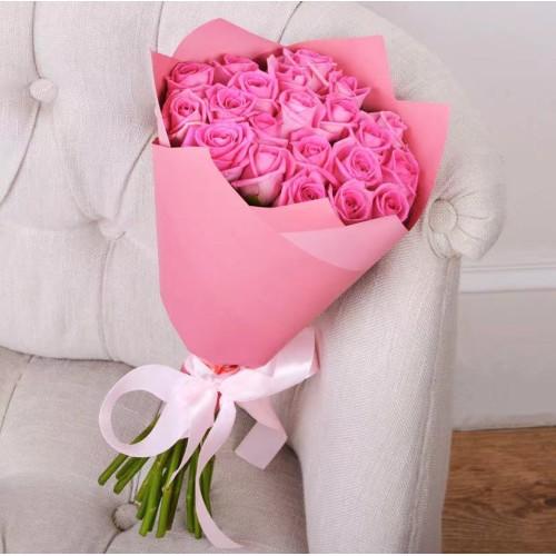 Купить на заказ Букет из 21 розовой розы с доставкой в Степняке