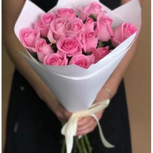 Купить на заказ 15 розовых роз с доставкой в Степняке