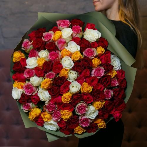 Купить на заказ Букет из 101 розы (микс) с доставкой в Степняке